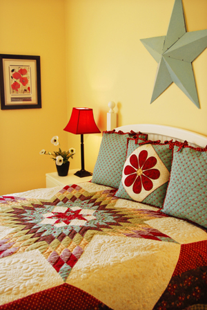 Bound Pillow Sham with Ties and Applique Option