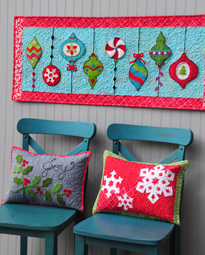 Mod Ornaments Runner and Christmas Pillows